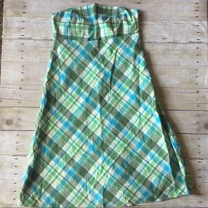 GAP green plaid strapless a-line dress